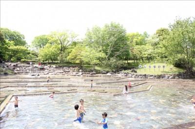 郷土の森博物館内の水遊びの池