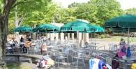 水遊び場前のベンチとパラソルとテーブル