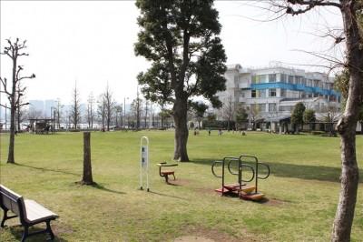健康遊具と芝生の広場