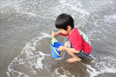 お台場海浜公園の浜辺で遊ぶこども