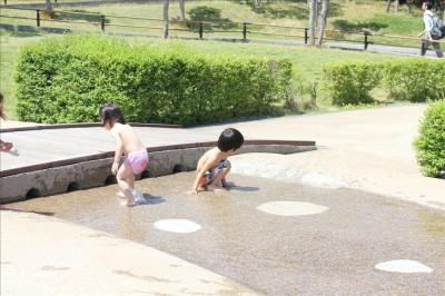 カッパーク鷺沼のじゃぶじゃぶ池で遊ぶ子供たち