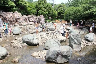 綾南公園のゴツゴツした岩場の水遊び場