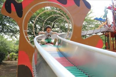 ローラーすべり台を楽しむ4歳の息子