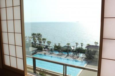 龍宮城スパホテル三日月 部屋の窓の外
