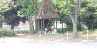 屋根が三角のパーゴラ